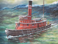 Alan Riegler Oil painting of boat at sea