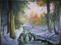 Alan Riegler Oil Painting of winter river scene