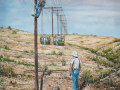 Alan Riegler Oil painting of electircal highline construction