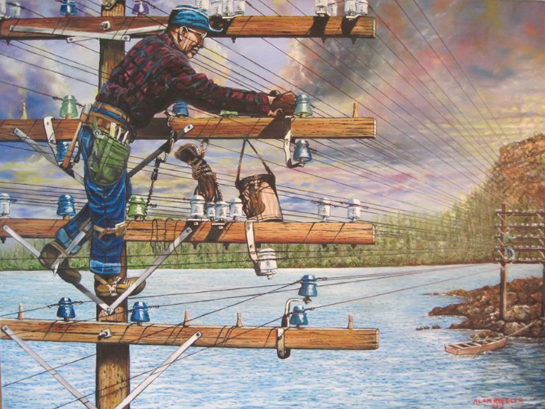 Painting of Telephone Line Construction